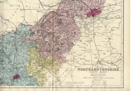 1883 Antique Map of NORTHAMPTONSHIRE NORTH COUNTY Houses FARMS Railways ORDNANCE SURVEY